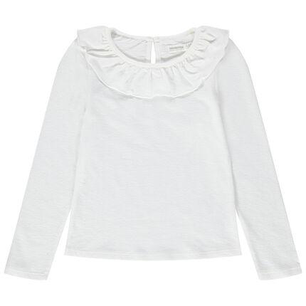Μακρυμάνικη μπλούζα από ζέρσεϊ με βολάν στη λαιμόκοψη