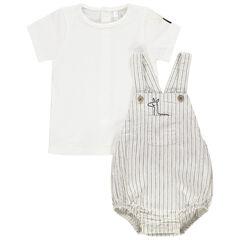 Σύνολο μπλούζα με σούστες στην πλάτη και ριγέ σαλοπέτα