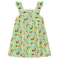 Βαμβακερό φόρεμα με τιράντες με βολάν