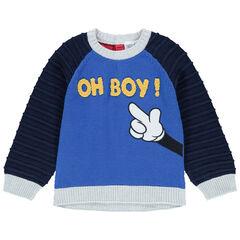 Δίχρωμο πλεκτό πουλόβερ με μπουκλέ γράμματα και χέρι του Μίκυ της Disney
