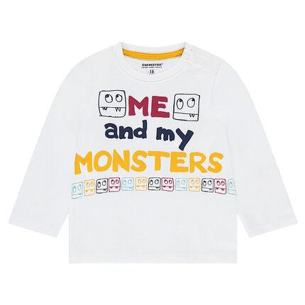 Μακρυμάνικη μπλούζα από ζέρσεϊ με τυπωμένο διακοσμητικό μοτίβο