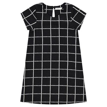 Παιδικά - Κοντομάνικο φόρεμα με καρό σε αντίθεση