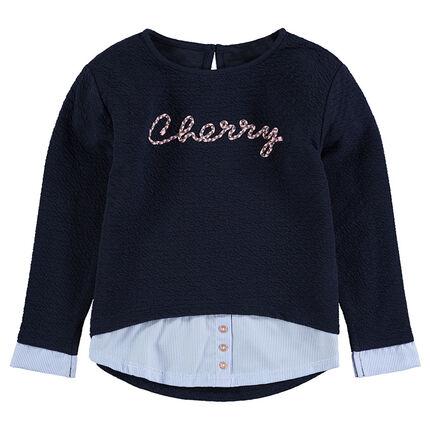 Μακρυμάνικη μπλούζα με εφέ 2 σε 1 με γράμματα από κορδόνι
