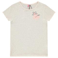 Παιδικά - Κοντομάνικη μπλούζα από ζέρσεϊ με κεντημένα λουλούδια