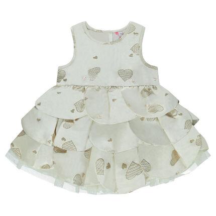 Αμάνικο φόρεμα με βολάν και καρδούλες σε όλη την επιφάνεια