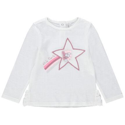 Μακρυμάνικη λεπτή μπλούζα με φαντεζί μοτίβο