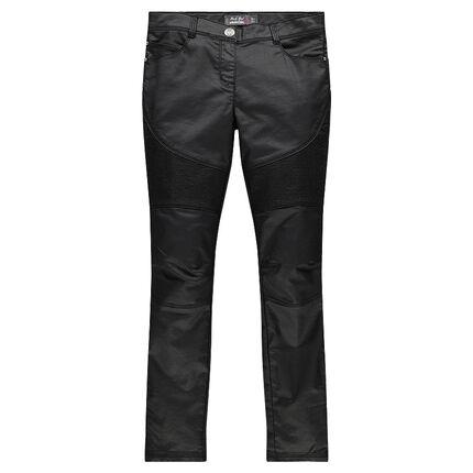 Junior - Pantalon slim enduit avec zips et empiècements fantaisie