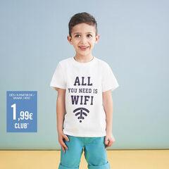 Κοντομάνικη μπλούζα από βιολογικό βαμβάκι με τυπωμένο μήνυμα