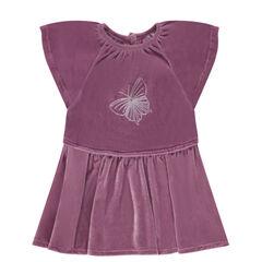 Κοντομάνικο φόρεμα από βελούδο με κεντημένη πεταλούδα