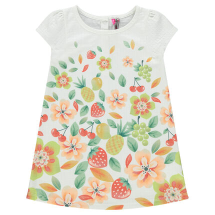 Robe manches courtes imprimée fruits et fleurs