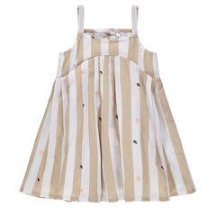 Βαμβακερό φόρεμα με ρίγες και κεντημένα μοτίβα