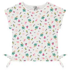 Παιδικά - Κοντομάνικη μπλούζα από ζέρσεϊ slub ύφασμα με εμπριμέ μοτίβο
