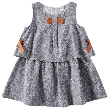 Αμάνικο φόρεμα με μοτίβο λουλούδια και καμηλό φάσες