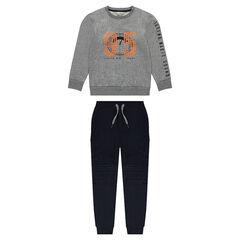 Παιδικά - Φόρμα από φανέλα με φούτερ και παντελόνι με τσέπες στα μπατζάκια