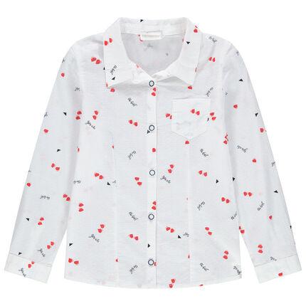 Μακρυμάνικο πουκάμισο με εμπριμέ μοτίβο καρδιές και τσέπη στο στήθος