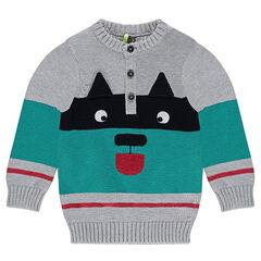 Πλεκτό πουλόβερ με ζακάρ μοτίβο ζωάκι