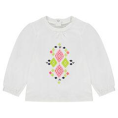 Μακρυμάνικη μπλούζα μπαλούν με τυπωμένο χρωματιστό μοτίβο
