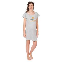 Κοντομάνικη μακριά μπλούζα εγκυμοσύνης για το σπίτι με στάμπα