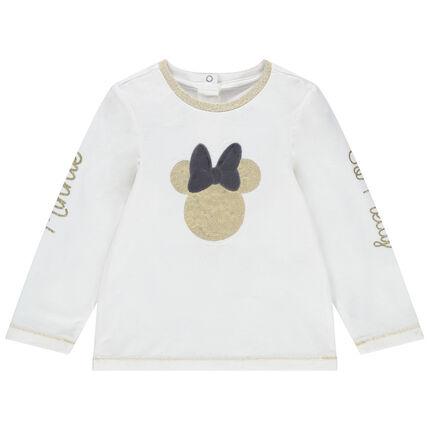 Μονόχρωμη μακρυμάνικη μπλούζαζέρσεϊ με τη Minnie της Disney από χρυσαφί πούλιες