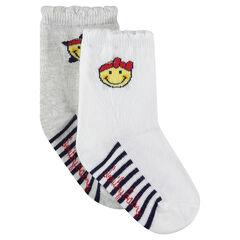 Σετ 2 ζευγάρια κάλτσες με ρίγες και ζακάρ μοτίβο ©Smiley