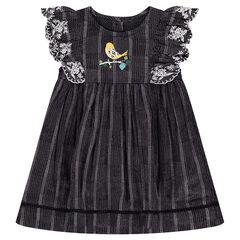 Κοντομάνικο φόρεμα με βολάν, κεντήματα και τυπωμένο πουλάκι