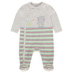 Βελουτέ φορμάκι ύπνου με μπάλωμα με αρκουδάκι και ρίγες σε χρώμα που κάνει αντίθεση