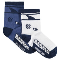 Σετ 2 ζευγάρια ασορτί κάλτσες με ζακάρ μοτίβο καρχαρία
