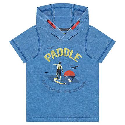 Κοντομάνικη μπλούζα με κουκούλα και στάμπα «Paddle» μπροστά