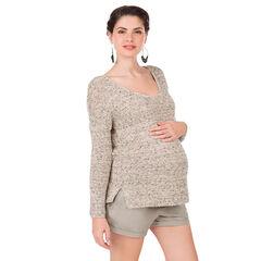 Πουλόβερ εγκυμοσύνης από νήμα μελανζέ