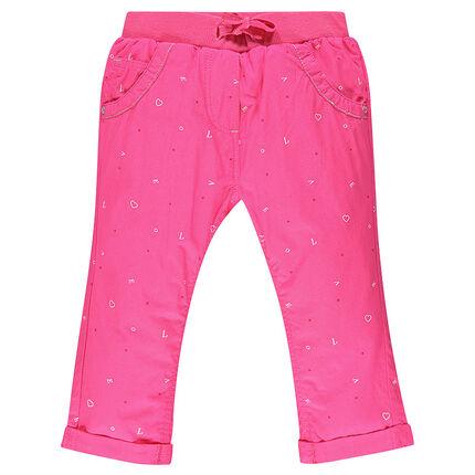 Ροζ κάπρι με εμπριμέ μοτίβο