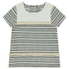 Παιδικά - Κοντομάνικο μπλουζάκι ζακάρ με ρίγες και κρόσσια