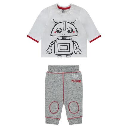 Σύνολο μπλούζα με στάμπα ρομπότ και παντελόνι από φανέλα