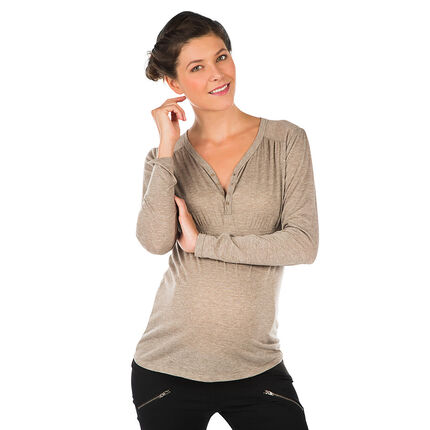 Tee-shirt manches longues de grossesse col tunisien