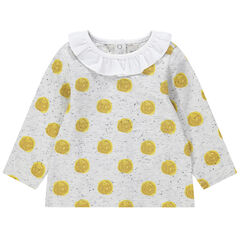 Μακρυμάνικη πουά μπλούζα από ζέρσεϊ με κηλίδες στην ύφανση και βολάν στη λαιμόκοψη