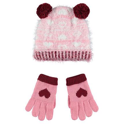 Πλεκτό σύνολο σκούφος και γάντια με χνουδωτή υφή και επένδυση από sherpa
