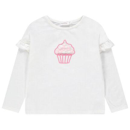 Μακρυμάνικη μπλούζα με βολάν και cupcake από τούλι