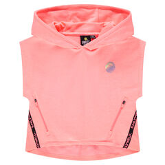 Παιδικά - Κοντό φούτερ με κουκούλα με στάμπα ©Smiley και τσέπες με φερμουάρ