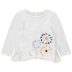 Πλεκτό πουλόβερ με κεντημένα λουλούδια και λοξές ραφές