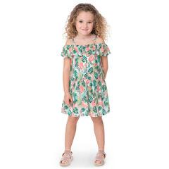 Φόρεμα με ανοιχτούς ώμους και εμπριμέ μοτίβο φύλλα