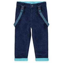 Βελούδινο παντελόνι με ζέρσεϊ επένδυση και ελαστικές ριγέ τιράντες