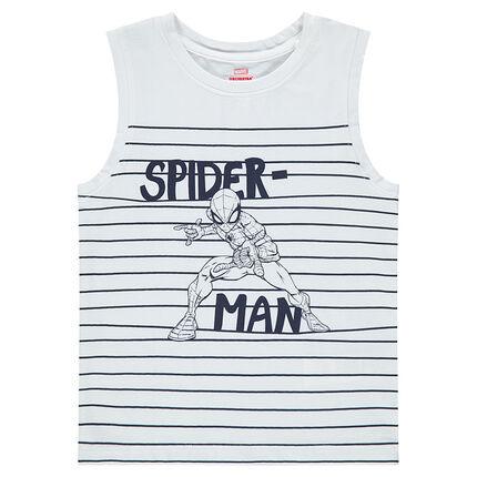 Αμάνικη ζέρσεϊ μπλούζα με ρίγες και στάμπα Spiderman της ©Marvel