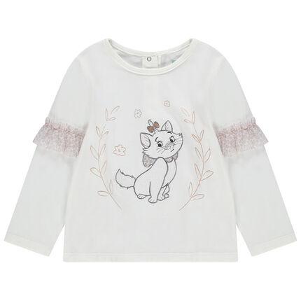 Μακρυμάνικη μπλούζα με βολάν από τούλι λεοπάρ και κεντημένη τη Μαρί από τις Αριστογάτες της Disney