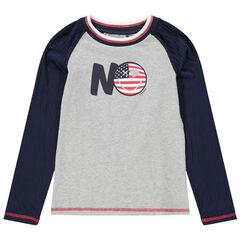 Παιδικά - Μακρυμάνικη δίχρωμη μπλούζα από ζέρσεϊ με στάμπα Smiley