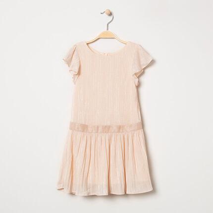 Κοντομάνικο πλισέ φόρεμα με βολάν