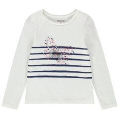 T-shirt manches longues en jersey à rayures et motif brillant