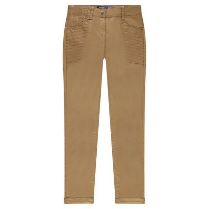 Παιδικά - Παντελόνι slim από ύφασμα τουίλ με κερωμένη όψη