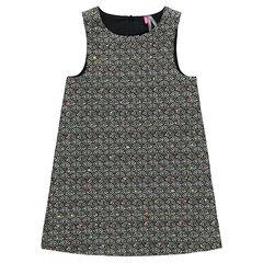 Αμάνικο φόρεμα με ζακάρ μοτίβο σε όλη την επιφάνεια