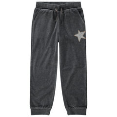 Παιδικά - Βελουτέ μονόχρωμο παντελόνι φόρμας με αστέρι από πούλιες