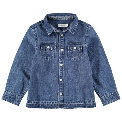 Παιδικά - Μακρυμάνικο τζιν πουκάμισο με ξεβαμμένη όψη και κουμπιά με όψη φίλντισι