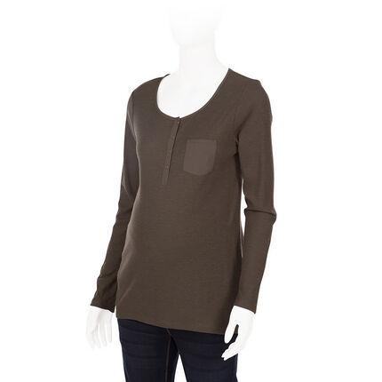 Μακρυμάνικη ριμπ μπλούζα εγκυμοσύνης
